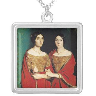2人の姉妹、かMesdemoiselles Chasseriau シルバープレートネックレス