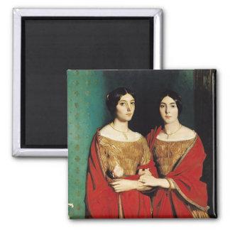 2人の姉妹、かMesdemoiselles Chasseriau マグネット
