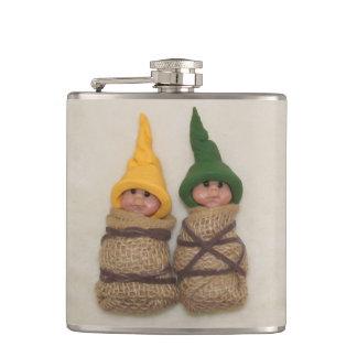 2人の小妖精や小人: 元の粘土のベビーの彫刻 フラスク