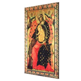 2人の敬虔な人々と即位するマドンナおよび子供 キャンバスプリント
