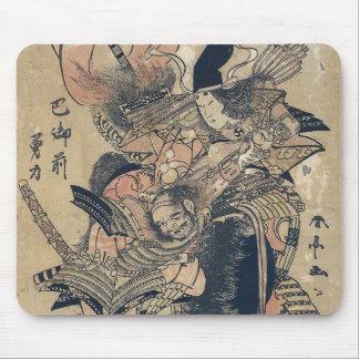 2人の武士のUkiyo-eの古く日本のな絵画 マウスパッド