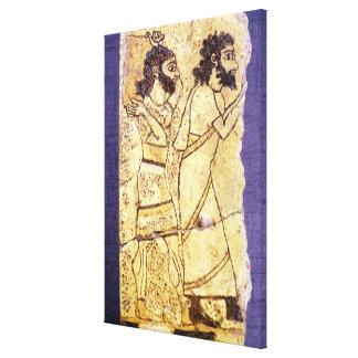 2人の歩くことを描写するプラク キャンバスプリント