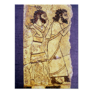2人の歩くことを描写するプラク ポスター
