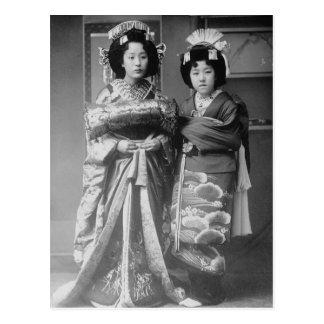 2人の芸者女の子のヴィンテージの日本人の写真 ポストカード