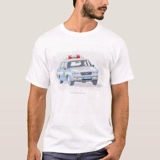 2人の警官が付いているパトカーのイラストレーション Tシャツ