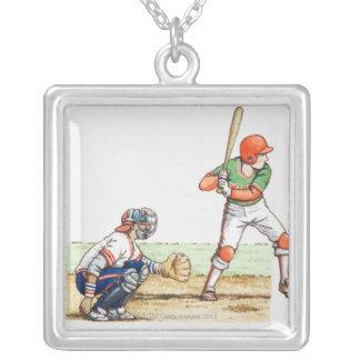 2人の野球選手のイラストレーション シルバープレートネックレス