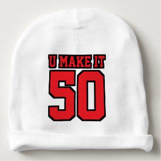 2側面の帽子の白く赤く黒いフットボールジャージー ベビービーニー