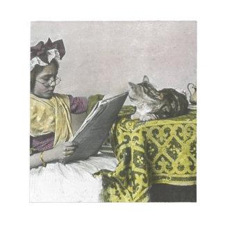 2党のヴィンテージのビクトリアンな子猫猫の女の子のための茶 ノートパッド