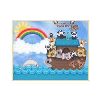 2冊の聖書の素晴らしい洪水による動物2のNoahsの避難所 キャンバスプリント