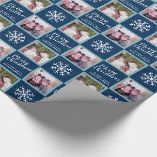 2写真-濃紺のメリークリスマスの雪片 ラッピングペーパー