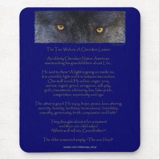 2匹のオオカミのチェロキー知恵の物語のネイティブアメリカン マウスパッド