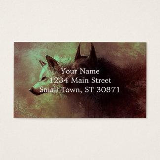 2匹のオオカミ-絵画のオオカミ 名刺