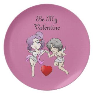 2匹のキューピッドのバレンタインのプレート プレート