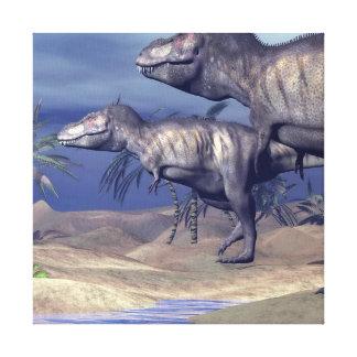 2匹のティラノサウルス・レックスの恐竜 キャンバスプリント