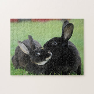 2匹の寄り添うレックスのウサギ-動物の写真撮影 ジグソーパズル