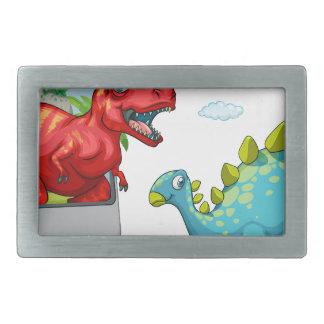 2匹の恐竜が付いているコンピュータ画面 長方形ベルトバックル
