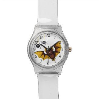 2匹の柔らかいくもが付いているハロウィン愛らしいブラウンのこうもり 腕時計
