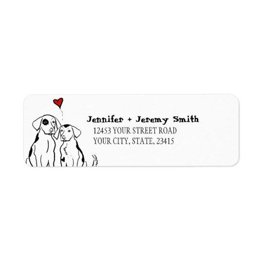 2匹の犬の初恋の差出人住所ラベル 返信用宛名ラベル