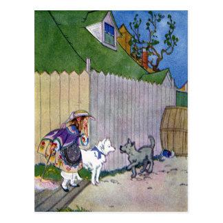 2匹の犬は細道で会います ポストカード