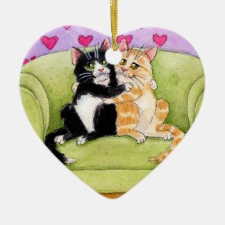 2匹の猫クリスマスまたはバレンタインのオーナメント セラミックオーナメント