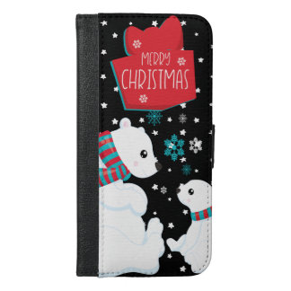 2匹の白くまのメリークリスマス iPhone 6/6S PLUS ウォレットケース