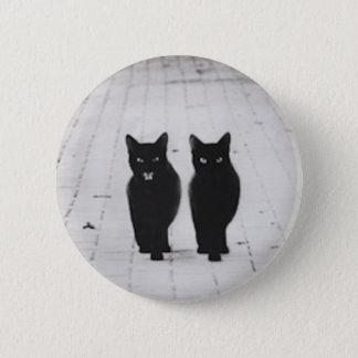 2匹の黒猫ボタンピン 5.7CM 丸型バッジ