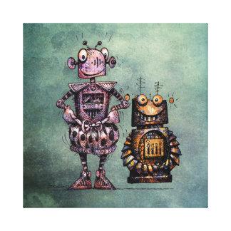 2台のおもしろいなロボット! キャンバスプリント