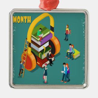 2月は図書館の恋人の月の感謝日です シルバーカラー正方形オーナメント