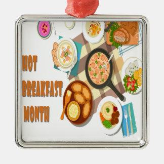 2月は熱い朝食月です メタルオーナメント