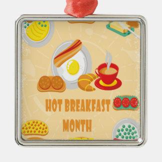 2月は熱い朝食月-感謝日です メタルオーナメント