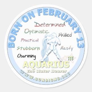 2月13日の誕生日-アクエリアス ラウンドシール