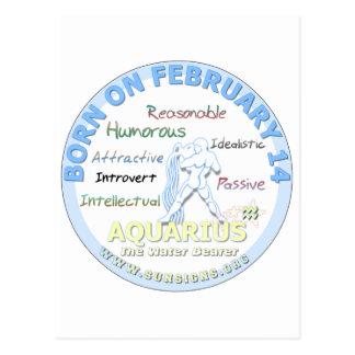 2月14日の誕生日-アクエリアス ポストカード
