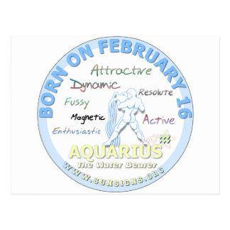 2月16日の誕生日-アクエリアス ポストカード