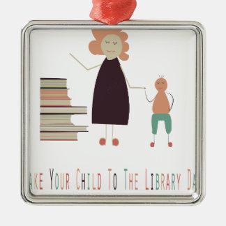 2月4日-図書館日にあなたの子供を連れて行って下さい シルバーカラー正方形オーナメント