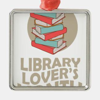 2月-図書館の恋人の月 シルバーカラー正方形オーナメント