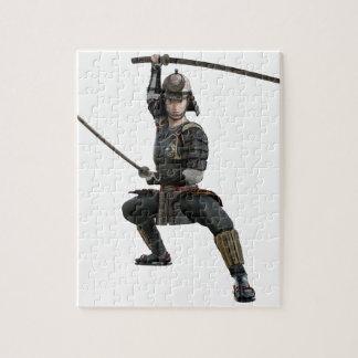 2本の剣を持つ武士は前部に見を用意します ジグソーパズル