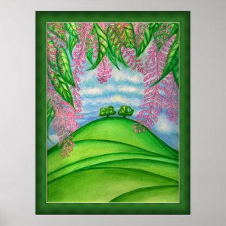 2本の木及びマカデミアの花の絵を描くこと ポスター