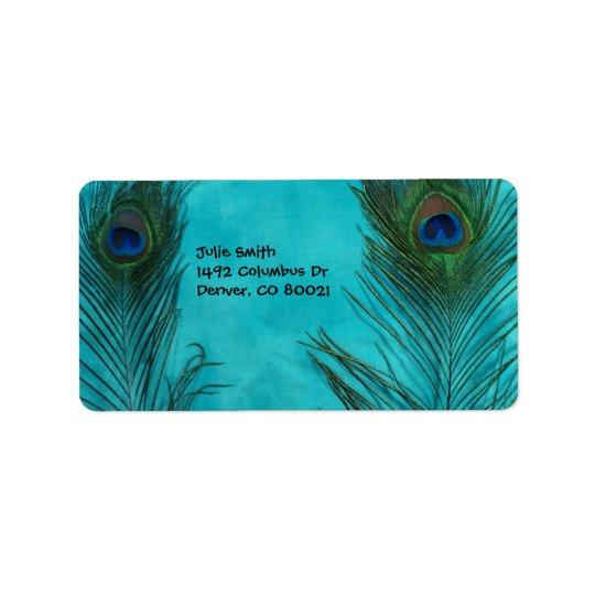 2本の水の孔雀の羽 ラベル