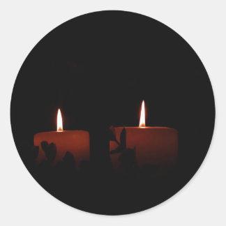2本の蝋燭 ラウンドシール