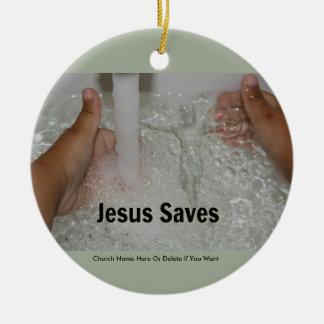 2本の親指を搭載する水のイエス・キリストは教会プロモーションを持ち上げます セラミックオーナメント