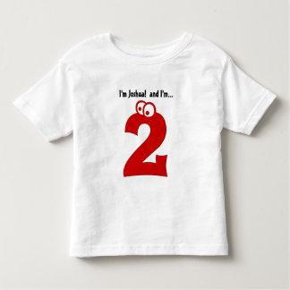 2歳のおもしろいの赤数のためのかわいい誕生日のティー トドラーTシャツ