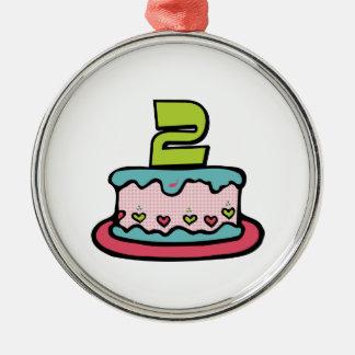 2歳のお誕生日ケーキ メタルオーナメント