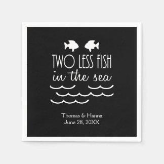 2海の結婚式のより少ない魚 スタンダードカクテルナプキン