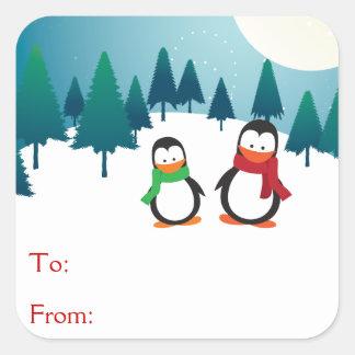 2羽のかわいいペンギン スクエアシール