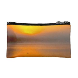 2羽のアヒルの自然の写真で照るOmbreの日の出- コスメティックバッグ