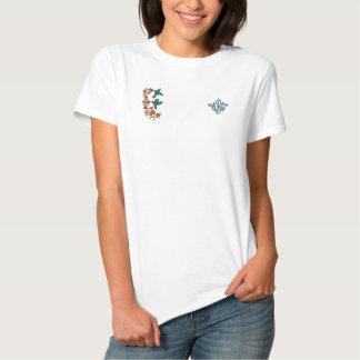 2羽のハチドリ 刺繍入りTシャツ