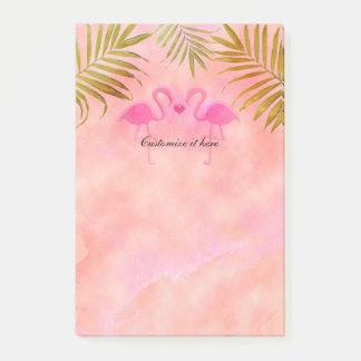 2羽のピンクのフラミンゴの水彩画の熱帯ポスト・イット ポストイット