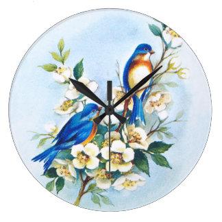 2羽のブルーバード ラージ壁時計