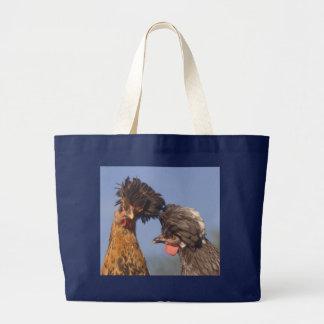2羽のポーランドの鶏 ラージトートバッグ