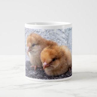 2羽のロードアイランド赤のひよこの写真 ジャンボコーヒーマグカップ